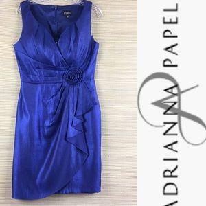 ADRIANA PAPELL Split V Neck Blue Metallic Dress